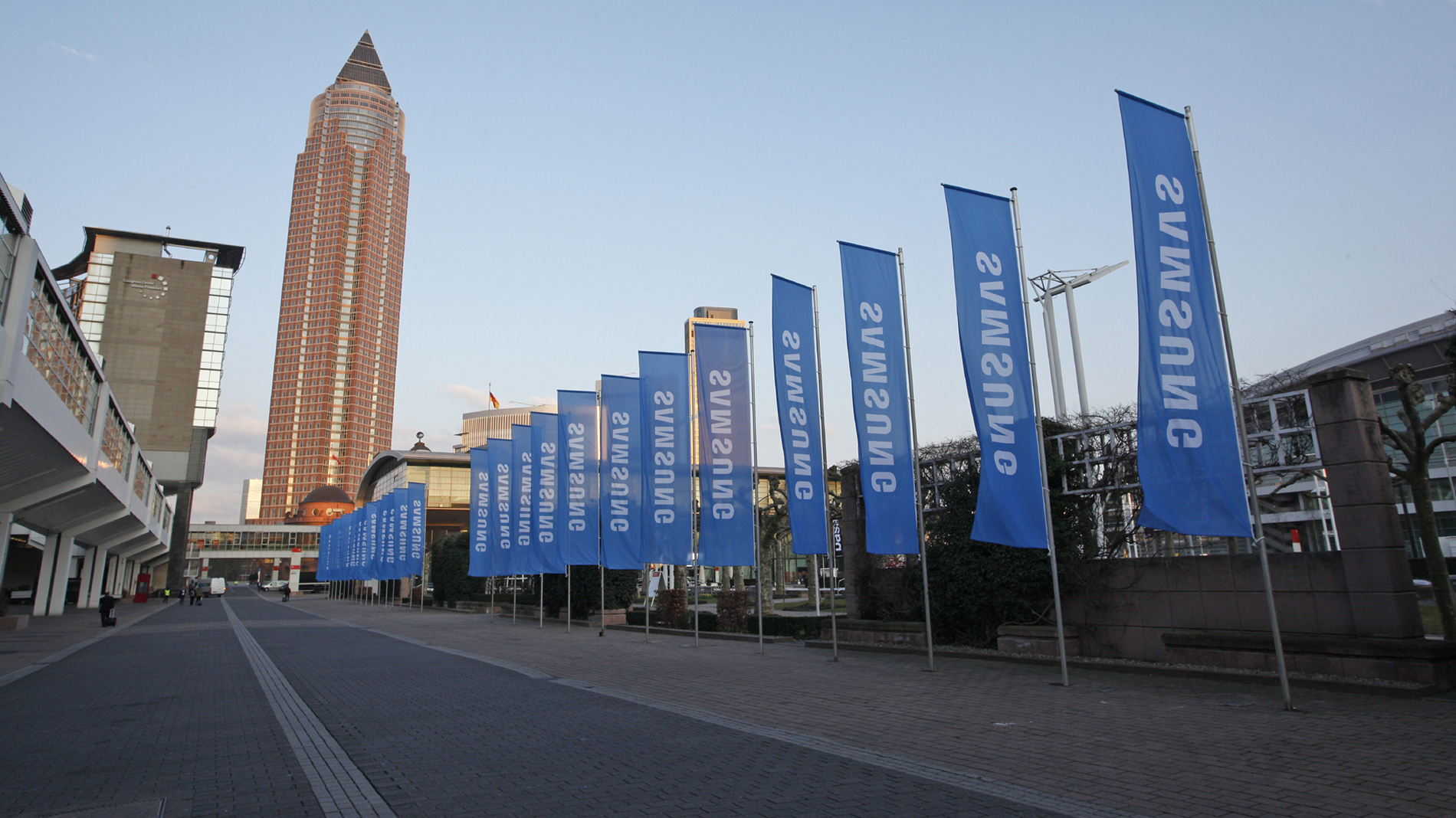 Omen advertising flags at the exhibition ground Messe Frankfurt