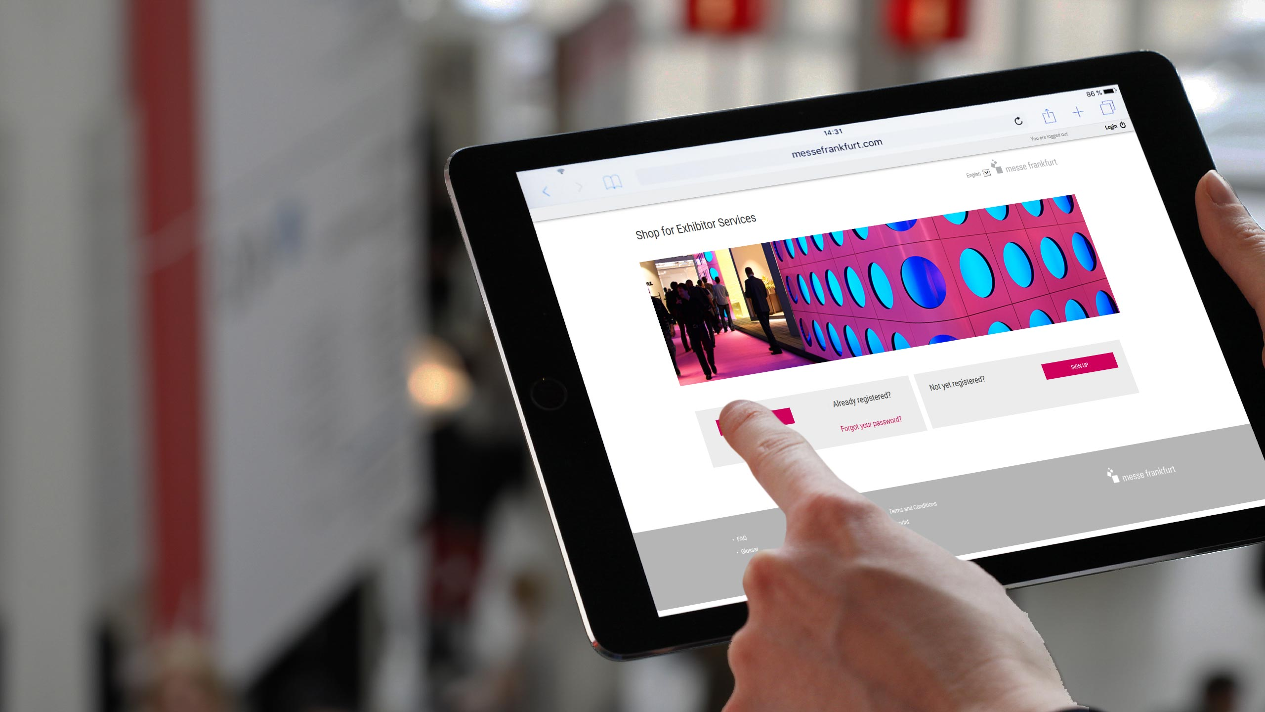 Shop for Exhibitor Services on an iPad