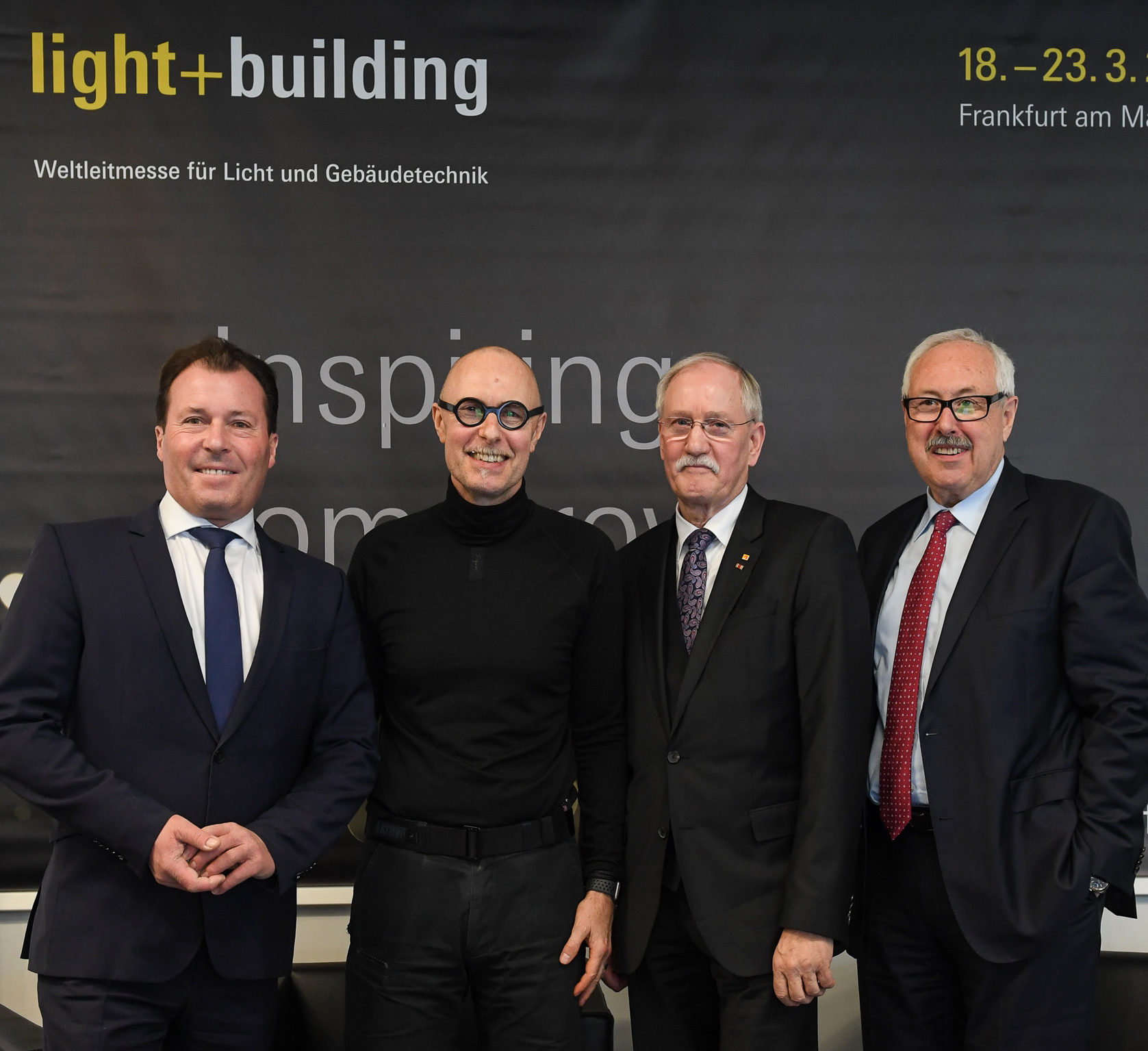 f.l.t.r.: Wolfgang Marzin (President and Chief Executive Officer (CEO) Messe Frankfurt GmbH), Prof. Wolfgang Henseler, Dipl.-Ing. Lothar Hellmann (President ZVEH), Michael Ziesemer (President of ZVEI) CMF, Room Illusion