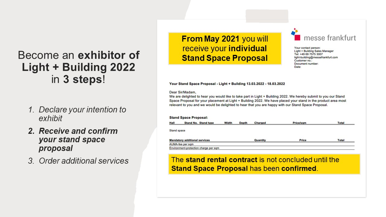 Become an exhibitor of Light + Building 2022 in 3 steps